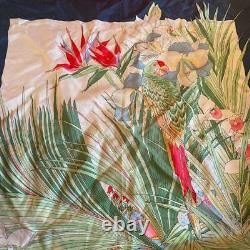 GUCCI Women's Scarf Blue Silk Logo Floral Pattern Authentic Used m691