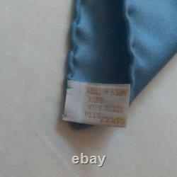 GUCCI Women's Scarf Blue Silk Made in Italy Flower Pattern Used Condition m443