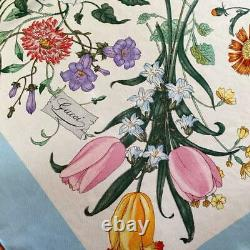 GUCCI Women's Scarf Light Blue Silk Flower Pattern Used Condition m913