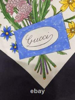 GUCCI Women's Scarf Silk Made in Italy Logo Floral Pattern Used Condition m620