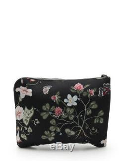 GUCCI clutch bag floral pattern canvas leather Black Yellow Green Light blue