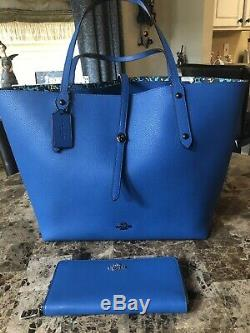 Genuine COACH Blue Leather Tote with Flowery Pattern Interior & Matching Wallet