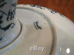 Gorgeous Blue Danube Japan Large 14 Footed Cake Stand Plate Floral Pattern
