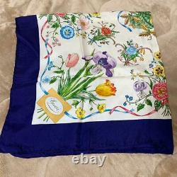 Gucci Authentic Large Format Scarf 100% Silk Navy Spring Flower Pattern