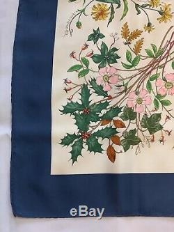 Gucci Silk Scarf 34 3/4 x 34 3/4 Floral Pattern With Small Stains