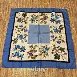 Gucci scarf silk GUCCI Scarves Large Size square flower pattern Blue