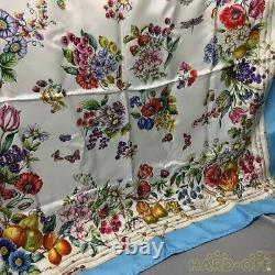 Gucci square scarf GUCCI Scarves silk light Blue flower pattern Large Size