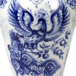 Gzhel Porcelain Flowers Vase, Made in Russia, Authentic, Signed FIREBIRD Pattern