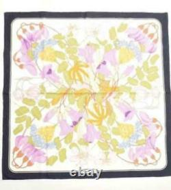 HERMES Carre 65 Scarf with Original Box Cotton 100% Floral Pattern White Navy