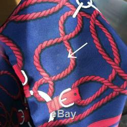 HERMES scarf curry rope belt pattern navy cleaned