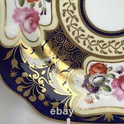 H and R Daniel cobalt floral plate, pattern 3859, 8.25 inches