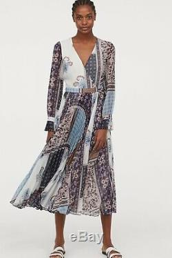 H&m New 2019 V-neck Wrap Long Patterned Dress Bloggers Size 4 Sold Out Nwt