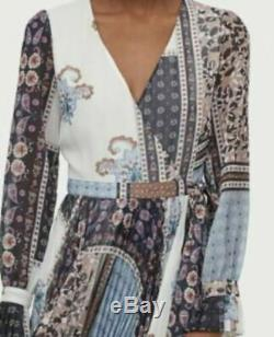 H&m New 2019 V-neck Wrap Long Patterned Dress Us 0 Xs Bloggers Sold Out Nwt