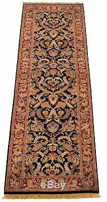 Hand-knotted 2'6 x 8'2 British Raj Bordered, Floral, Traditional Wool Rug