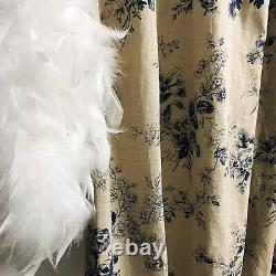 Handmade Vintage Floral Pattern Bio Washed Linen Curtain Panel 84 90 96 in Long