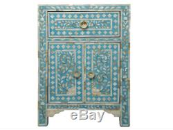INDIAN Handmade Bone Inlay Furniture Side Table Floral Pattern Cabinet
