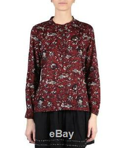 ISABEL MARANT ETOILE Amaria Red Blue White Floral Pattern Cotton Blouse 36/4