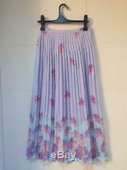 ISSEY MIYAKE Floral Pattern Light Blue Pleated Long Skirt Size M