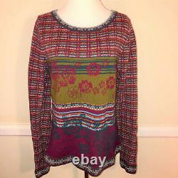 IVKO Mixed Patterns + Plaid Wool Sweater Size XL / 42 Rich Red + Multicolor
