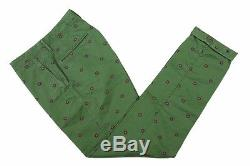 Incotex Trousers 34 Green with pink and blue floral pattern, flat front, regula