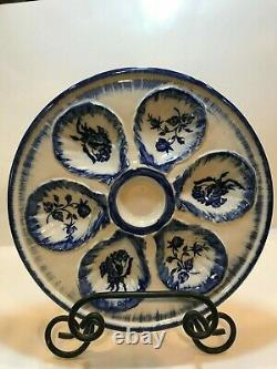 Ironstone Staffordshire Flow Blue Transferware Oyster Plate, Floral Pattern