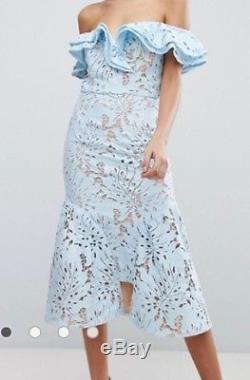 Jarlo dress, US Size 8, powder blue floral cutwork pattern with frill overlay