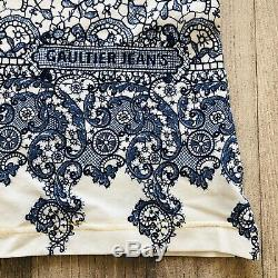 Jean Paul Gaultier T Shirt Blue White Extra Small Floral Patterned 38