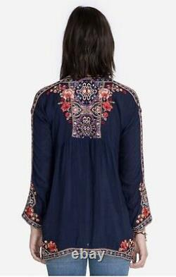 Johnny Was Alora Peasant Blouse Embroidered Medium Floral Pattern