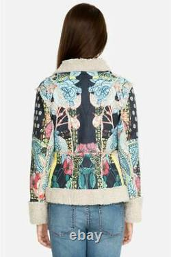 Johnny Was Jacket Sherpa Lining Patterned Deruy Coat Small S Blue Multi New
