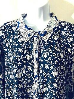 Johnny Was Navy + Peacock Blue pattern silk tunic collar big shirt blouse size L
