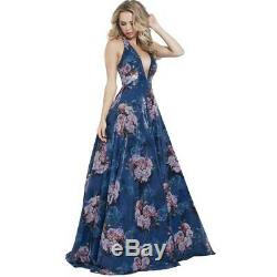 Jovani 58646A Prom Floral Pattern Lace-Up Evening Dress Gown BHFO 7376