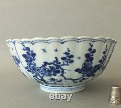 Kangxi Period Porcelain Bowl Blue and White Floral Pattern with Mark