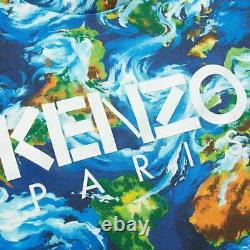 Kenzo Men's Archive Print Logo Cotton T-Shirt With Floral Style Pattern Blue