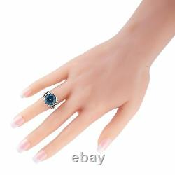 King Baby Silver and Blue Cubic Zirconia Floral Pattern Ring