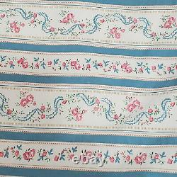 LARGE 41x100 Vintage Pillow Ticking with Floral Stripe Pattern, Yellow Hem and