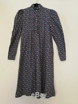 LAURA ASHLEY 1970s Vintage Smock Dress Blue Floral Pattern Uk 12/14