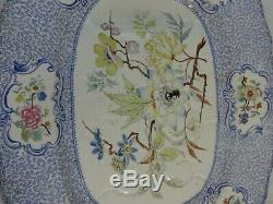 Large 20.75 Staffordshire Ironstone Platter Molded Well Transfer Floral Pattern