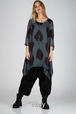 Loose Cropped Sleeves Deep Blue Leaves Pattern Silk Tunic Blouse