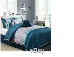Luxurious 7-Piece Teal Aqua and Silver embroidered Floral Print Comforter Set