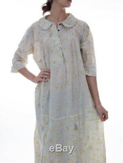 Magnolia Pearl European Cotton Floral Patterned Anya Maxi Dress w Rounded Collar