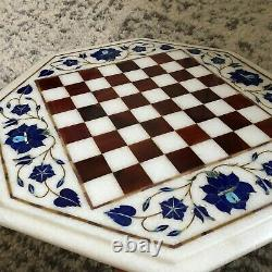 Marble Inlay Blue Floral Pattern 15 X 15 Decorative Mosaic Tile Chess Board