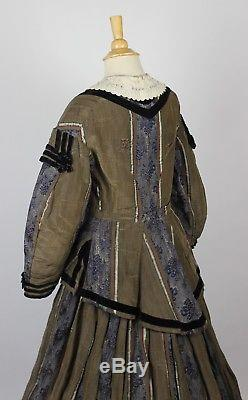 Mid 19th Century Silk Gown Blue with Black Velvet Trim and Floral Pattern