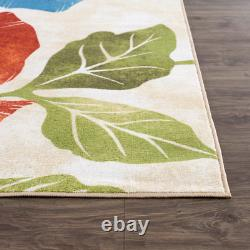 Modern Area Rugs 5'x7' Non-Slip Floral Pattern Carpet Indoor Area Rugs Red Blue