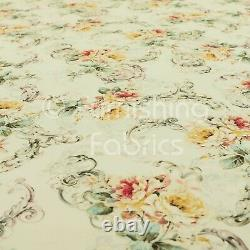 Modern Printed Velvet Natural Yellow Floral Pattern Upholstery Furnishing Fabric