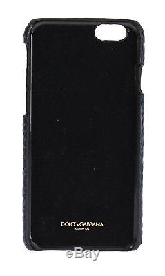 NEW $1200 DOLCE & GABBANA Phone Case Blue Cayman Leather Floral Crystal iPhone6