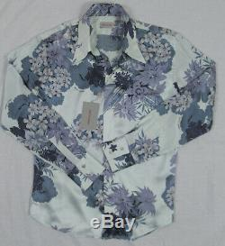 NEW Gianni Versace Classic Silk Shirt! L Blue Floral Pattern Italy Slim Fit