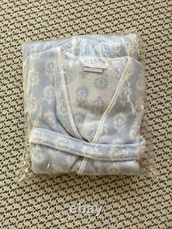 NIB Weezie Towels Short Patterned Robe Blue White Tullie Floral XS