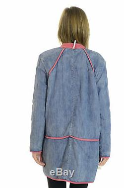 NWT Free People Reversible Quilted Denim Chambray Patterned Blue Pink Jacket, S