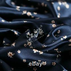 Navy Blue Small Floral Patterns Satin Silk Charmeuse(20 Momme)