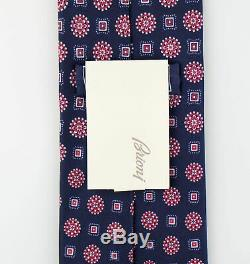 New. BRIONI Blue With Floral Pattern 100% Silk Neck Tie $230